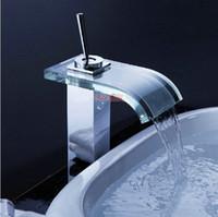 Wholesale Waterfall Bathroom Basin Faucet Mixer Chrome amp Glass Bath Basin Faucet Sink Faucet