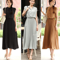 Wholesale Vintage Women Boho Bohemia Chiffon Sleeveless Ruched Pleated Maxi Long Dress