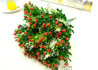 Wedding Party Home Decoration 134211  retail 1PCS Bouquet Artificial strawberry flowers plants for Wedding Party Home Decoration gift craft DIY many color available
