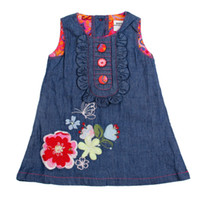 TuTu Summer Straight H2568# 6m-4y baby girls denim dress for summer kid dresses embroidery flower sundress jumper dress for girls 5 pieces per lot quick delivery