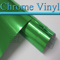 Wholesale Air Free chrome car vinyl Wrap green pink car wrapping film m m roll