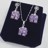 new Earrings & Necklace  Set Pretty Purple jade silver elephant pendant necklace earrings