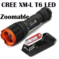 Wholesale Tactical W lumen CREE XML XM L T6 Zoomable focus flashlight torch by batttery mode mah protected battery Charger