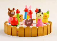 Wholesale Super cute mother garden mini birthday cake set cut toy colorful children wooden play house