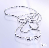 Wholesale New inch Women s Bead Sticker Links Sterling Silver Chain Lobster Clasp Fine Necklace Jewelry SH3 inch