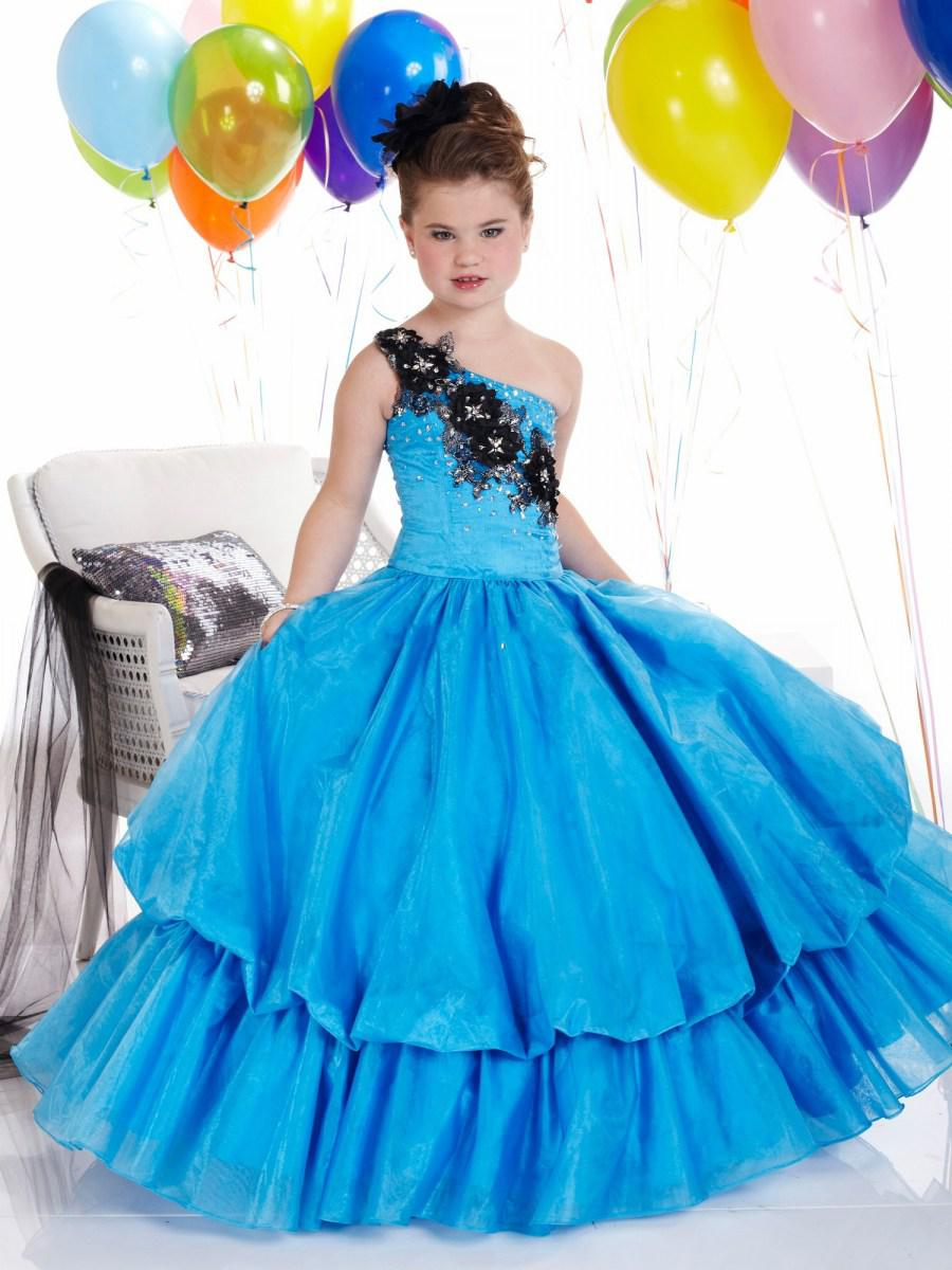 New Style Ball Bown Flower Girl Dress Patterns One Shoulder Lace ...