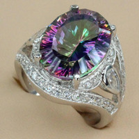 Wholesale Classic Fashion Rainbow Fire Mystic Topaz Silver RING R701 size