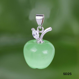 Wholesale Green Apple Cat Eye Pendant Crystal Sterling Silver Charms Dangle Jewelry Women Pendant Necklace DIY bag SD25