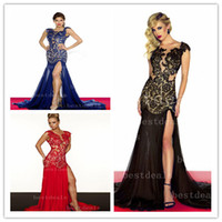 Wholesale Hot Sales Evening Dresses Sexy V Neck Lace Split Backless Formal Occasion Party Dresses R