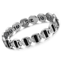 Wholesale 316L stainless steel bangle bracelet magnetic health care Ceramic bracelet men s cool jewelry GS3342