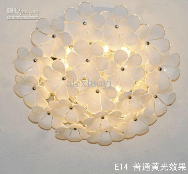selling dia60cm h22cm white flower glass ceiling light