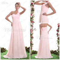 Model Pictures Ruffle Sleeveless Floral One shoulder ruched A-line Chiffon Light Pink Bridesmaid dresses Lady's Formal Dresses AG247