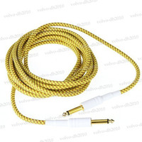 Wholesale 5M FT Yellow amp Brown Cloth Braided Tweed Guitar Cable Cord LLY183