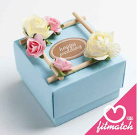 Favor Boxes tiffany box - 50Pcs Blue Colors Square Wedding Favors Boxes With Aromatherapy The Bamboo