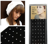 Unisex 316L medical steel+Rhinestone Nose Rings & Studs 400pcs(10 Boxes) Nose Ring Fashion Body Jewelry Nose Stud 316L Stainless Surgical Steel Nose Piercing Crystal Stud