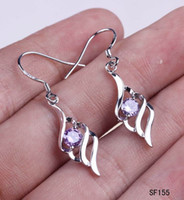 women earrings lot - New Women s Amethyst Beads Leaf Earrings Sterling Silver Crystal Dangle Earring Wire Eardrops pairs SF155