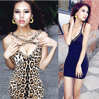 Wholesale 2013 Newest Metal chain women backless blue womens dress sexy leopard skirt mini cocktail evening dresses