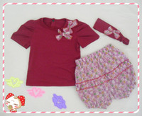 Wholesale 2013 SUMME HOT SELLING Amissa three pieces baby suits handband shirt shorts H072