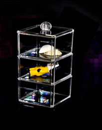 Wholesale Acrylic Crystal Transparent Plastic Cosmetics Box Jewelry Box Three Layers And Three Multi function Receive A Case When Seasoning Box