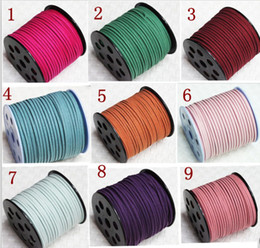 Wholesale 90Yards roll Flat Korean Velvet Leather Cords Imitation Suede Braided leather Cord DIY Leather Jewelry Cord Free Shipping