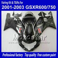 al por mayor suzuki gsxr750 fairing-Carenados de carrocería para SUZUKI GSXR 600 750 K1 2001 2002 2003 GSXR600 GSXR750 01 02 03 R600 Juego de carenado negro brillante R750 RR15