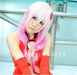Wholesale SUNSHINE Guilty Crown inori Yuzuriha Ice Mixed Pink cosplay wig white pink Heat resistance fibre