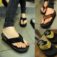 Wholesale 2014 New High heeled woman sequins slippers flip flops beach shoes Outdoor shoes Board Shoes