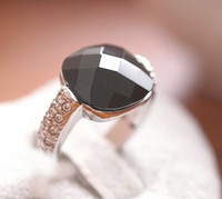 Wholesale Solitaire Ring Female black onyx crystal diamond rings personalized jewelry gemstone black section