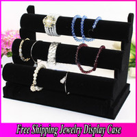 Wood watch display stand - Quality Black Tier Velvet Watch Bracelet Jewelry Display Holder Stand Jewerly Case Trail Order