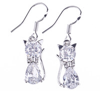 Purple Fashion Women's Fashion 34x8mm Crystal Cat Dangle 925 Sterling Silver Earrings Eardrop Dangle Hook Women Ladies Jewelry Accessory Free Shipping SF212*5