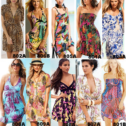 Wholesale Hot Sexy Women Girl Beach Dresses Floral Silky Tulle Skirt V Neck Bohemian Swimwear Bikini Cover Up Soft Smooth Colors Summer Necessary