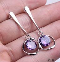 Silver women earrings lot - New Women s Amethyst Ring Earrings Sterling Silver Dangle Earring Wire Eardrops pairs SF163