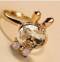 Party bunny jewelry - Ring Meng Meng cute bunny bow ring Crystal Ring jewelry