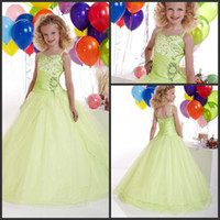 Wholesale 2013 New arrival Sweetheart Spaghetti straps Beads Sequins Pleats Taffeta and tulle Girls Pageant Dresses