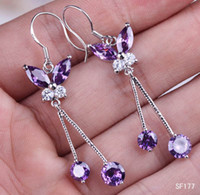 Silver amethyst butterfly earrings - Hot Sale Women s Amethyst Butterfly Dangle Earrings Plated Sterling Silver Earring Wire Hook Eardrops pairs SF177