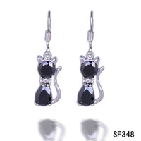 Wholesale Fashion x8mm Black Cat Sterling Silver Earrings Eardrop Charm Dangle Hook Women Ladies Jewelry Accessory SF348