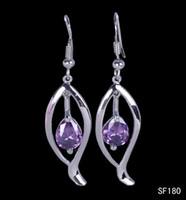 Cheap Hot Sale Women's Amethyst Oval Drop Dangle Earrings 925 Sterling Silver Earring Wire Hook Eardrops 5pairs lot Free Shipping SF180*5