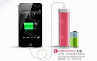 Wholesale Lipstick Chargers Portable mAh Power Bank External Battery Emergency Charger for iphone C S S Galaxy S4 S3 Note Mobile Phone