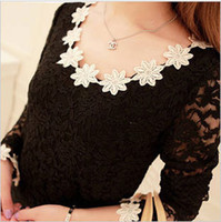 Women sweet tee shirts - Hot sale spring and autumn women lady sweet wild bottoming shirt full lace flower long sleeve tshirt top