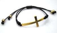 Wholesale Cross Leather Cord - Hot! 50pcs Cross - Gold Sideways Cross bracelet,Black wax cord bracelet Finding
