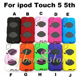 Wholesale 50pcs Hybrid Armor Impact amp Silicone Hard Box Case Cover With Screen Protector For ipod touch th