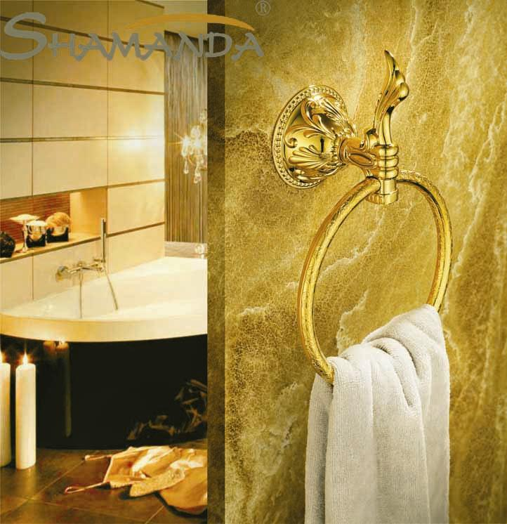 2017 European Style Luxurious Brass Gold Plating Round Towel Ring Bathroom Accessories Wholesale