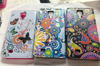Wholesale Flower PU Leather Magnetic Flip Cover Wallet Case For Samsung Galaxy S4 i9500 Free Ship