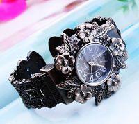 Wholesale EVSHSB Antique jewelry women engraved vintage quartz bangle bracelet watch best gift