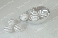 Wholesale 100pcs Striped Chunky Beads mm Acrylic White amp Clear Resin Gumball Beads