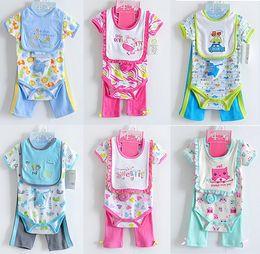 Wholesale baby gear new bown clothing sets suits romper babywear cotton bodysuit bibs pants pc set baby girl suit socks bib jumpsuit L198