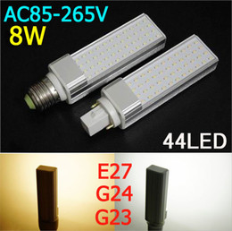 Wholesale 85V V E27 G24 W LED bulbs leds SMD LED PLC Light LED Lamp White Warm White High quality