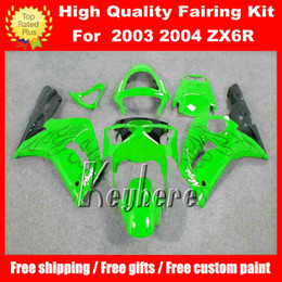 Free 7 gifts ABS race fairing kit for Kawasaki Ninja ZX6R 2003 2004 ZX-6R 03 04 ZX 6R G3m fairings black flames in green motorcycle bodywork