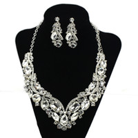 Wholesale Romantic HOt Tow Pieces Crystals Wedding bridal Jewelry Set Bridal Party Earring Necklace Jewelry Set Crystal Rhinestone set