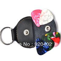 Wholesale Guitar Bass Pick Bags Genuine Leather Keychain Guitar Pick Holder Plectrum Key Chain Bag Black Case